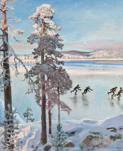 Skaters near the shore of Kalela (Gallen-Kallela)